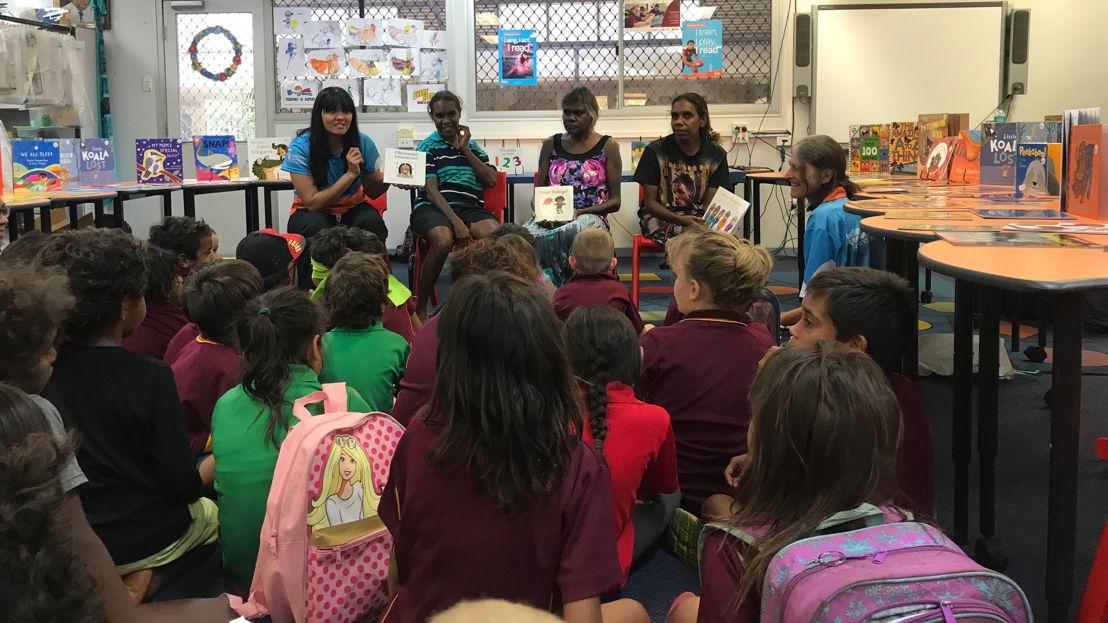 Binjari women authors reading to school children in Katherine. Image: supplied