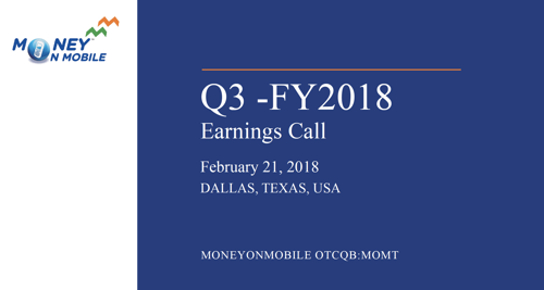 MoneyOnMobile, Inc. Announces 42% Increase in Consecutive Quarterly Net Revenue