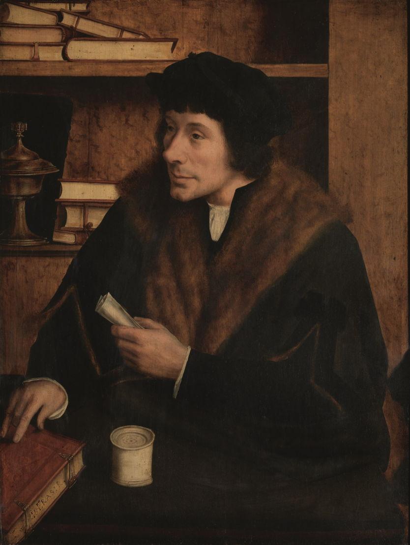Op zoek naar Utopia © Quinten Metsys (atelierrepliek ?), Portret van stadsgriffier Pieter Gillis, Antwerpen, na 1517. Antwerpen, Koninklijk Museum voor Schone Kunsten