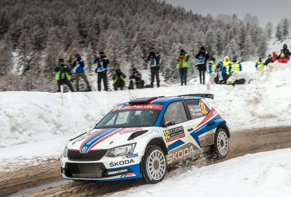 On the third day of the Rally Monte-Carlo, Jan Kopecký/Pavel Dresler, driving a ŠKODA FABIA R5 carrying the tricolour of the Czech flag, increased their massive lead in WRC 2 category and RC 2 class
