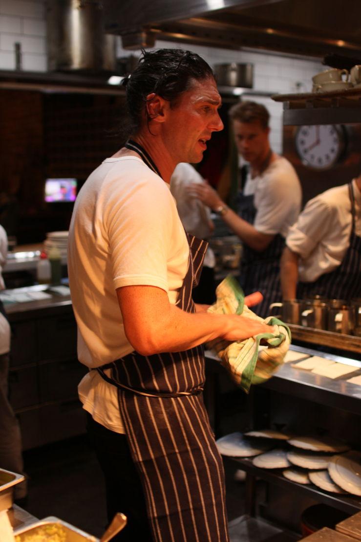 Tom Tilley (in background) at Colin Fassnidge's restaurant
