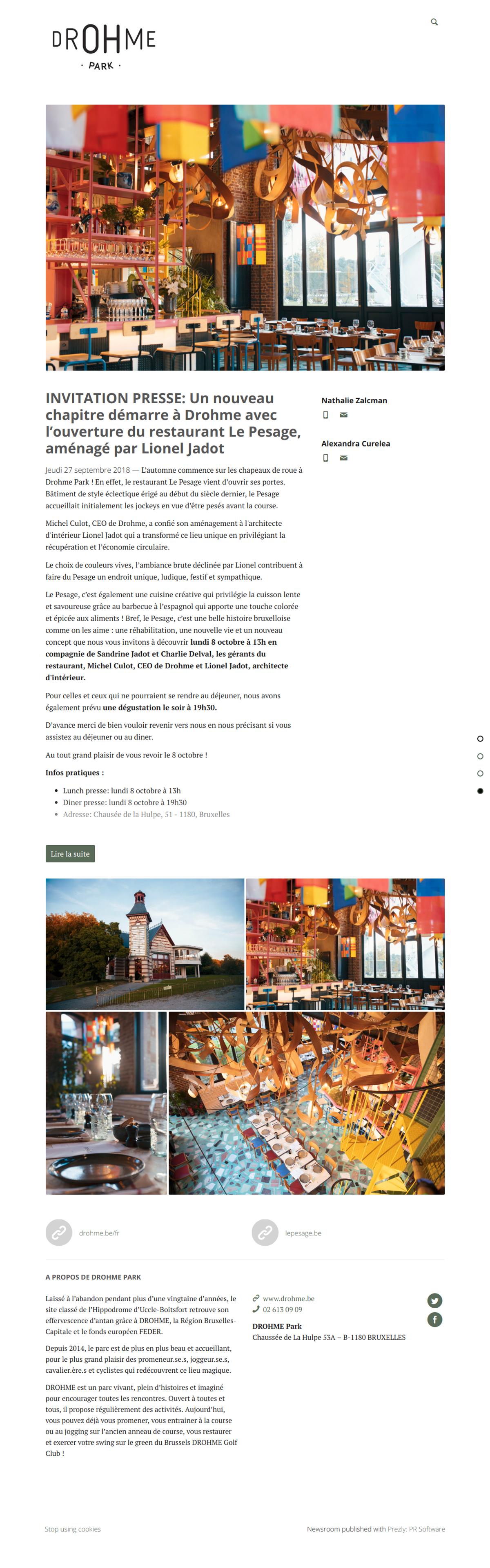 INVITATION PRESSE: Un nouveau chapitre démarre à Drohme avec l'ouverture du restaurant Le Pesage, aménagé par Lionel Jadot