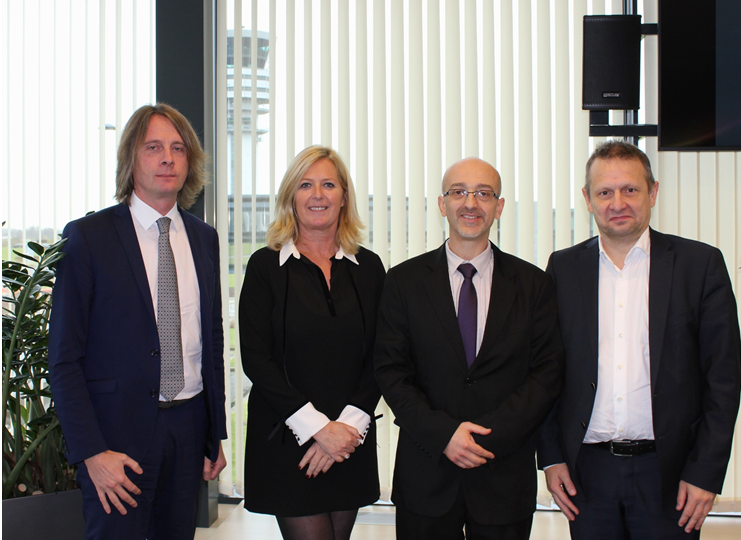 François Mathieu, Head of ATC at ANA Lux; Peggy Devestel, Belgocontrol COO; Claudio Clori, acting ANA Lux president and Johan Decuyper, Belgocontrol CEO