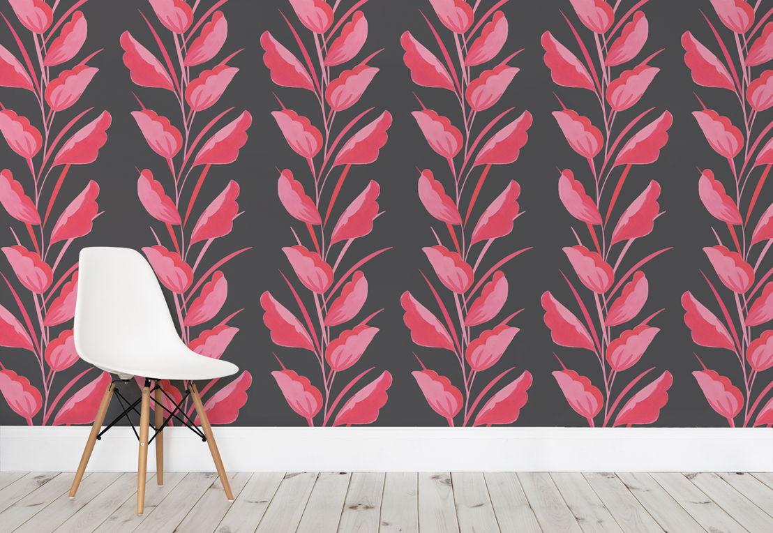 Pink Painted Leaves Wallpaper Mural