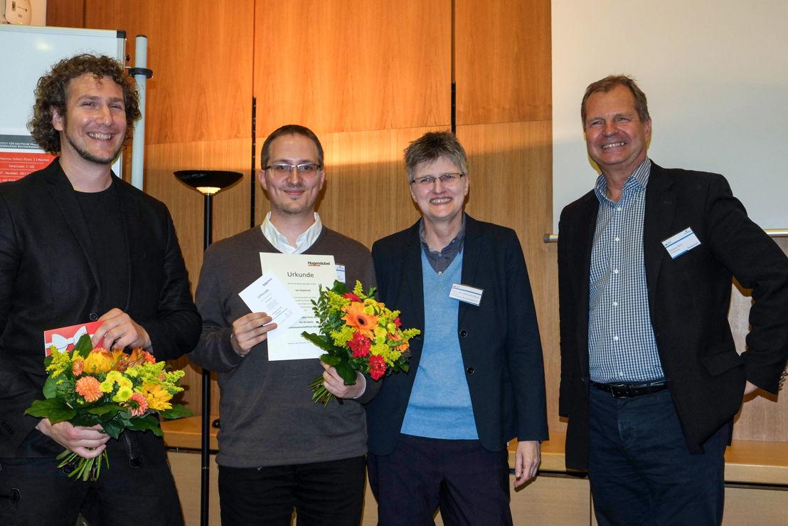 Markus Schäfer (Nominierter), Jan Stojanovic (Preisträger 2017), Prof. Dr. Christine Haug und Thomas Nitz (v. l. n. r.), Fotograf: Daniel Gertenbach