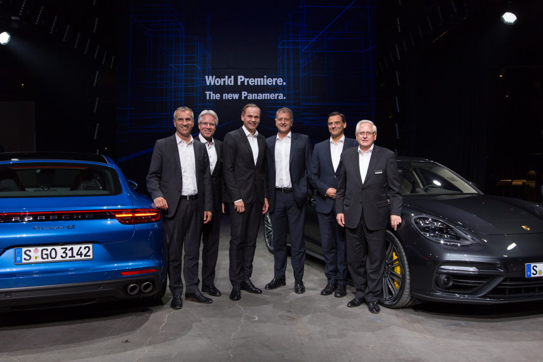 World premiere in Berlin (left to right):, Albrecht Reimold, Member of the Executive Board - Production, Andreas Haffner, Member of the Executive Board - Human Resources, Oliver Blume, Chairman of the Executive Board, Detlev von Platen, Member of the Executive Board - Sales and Marketing, Dr. Michael Steiner - Member of the Executive Board Research and Development and Uwe-Karsten Städter, Member of the Executive Board – Procurement, next to new Porsche Panamera.