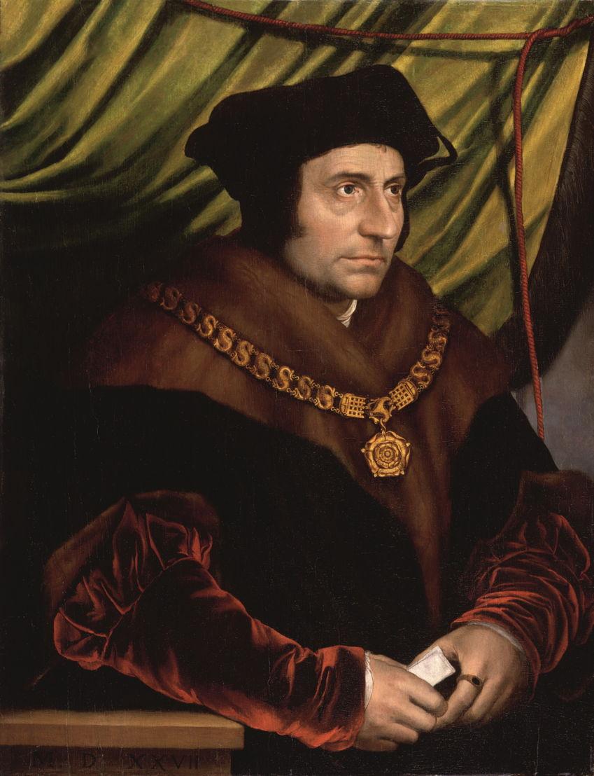 Op zoek naar Utopia © Kopie naar Hans Holbein de Jongere, Portret van Thomas More, na 1527. Londen, National Portrait Gallery