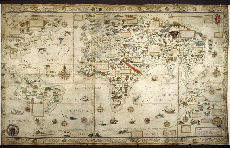 À la recherche d'Utopia © Pierre Desceliers, Mappamundi (Carte universelle), 1550. British Library, Londres