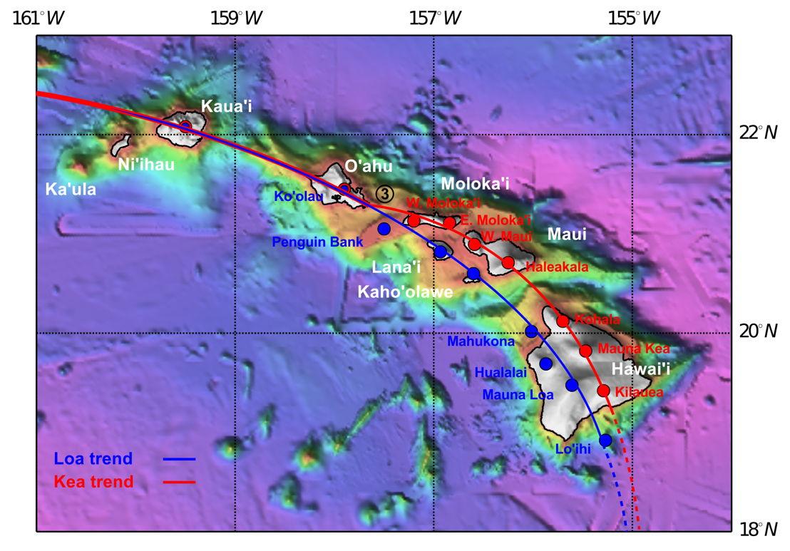 Map of recent Hawaiian volcanism, highlighting<br/>the Loa and Kea tracks. Image: Tim Jones, ANU.
