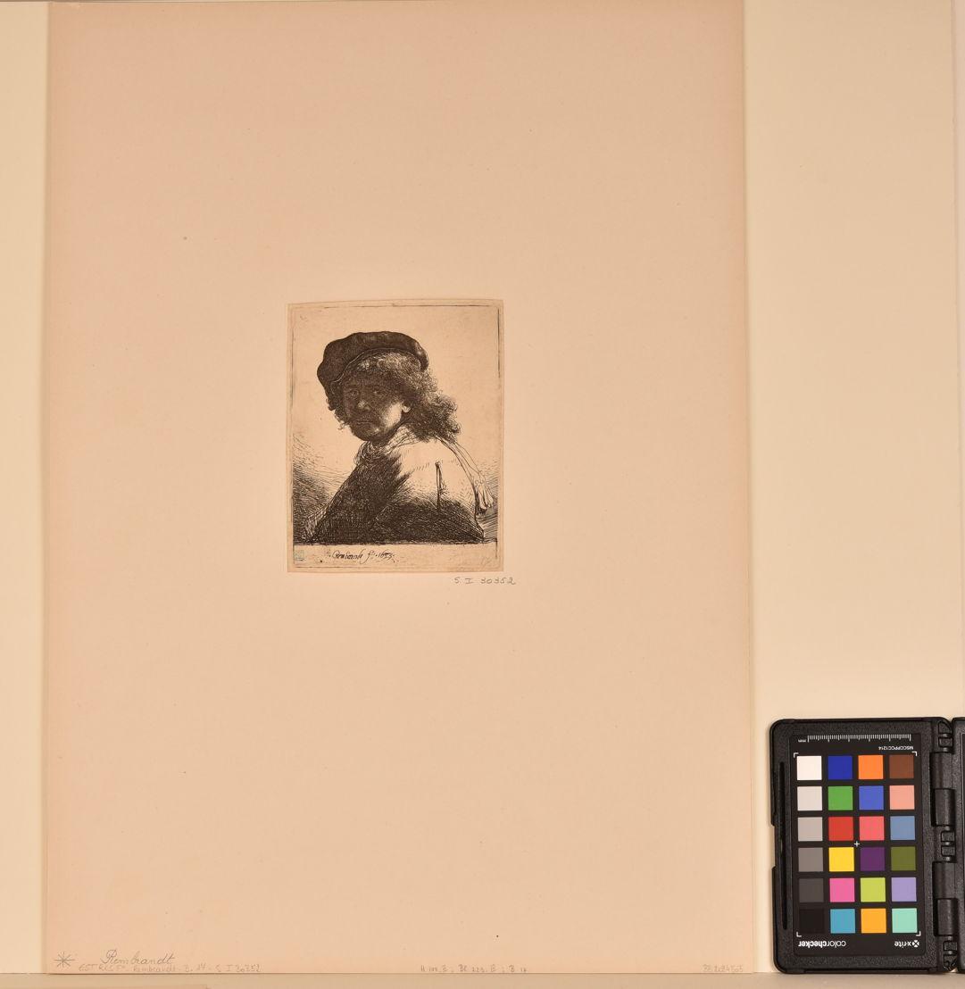 Autoportrait de Rembrandt, gravure avant traitement