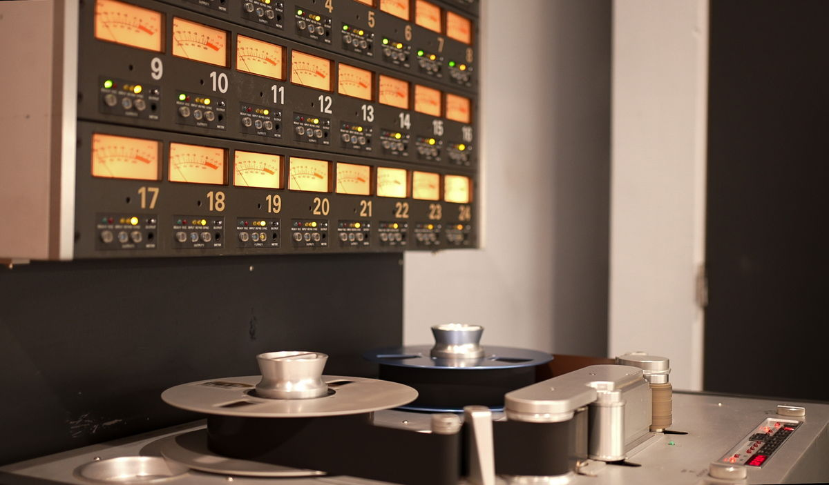 """The new songs,including """"War"""",were recorded through the BAEs live to tape on their newly acquired Studer A800 MKIII 24-track 2"""" tape machine. Photo credit: Michelle Mavrides"""