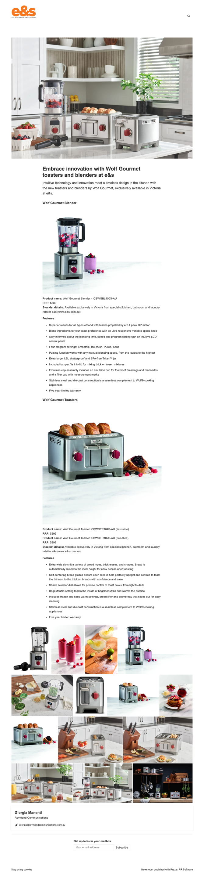 Embrace innovation with Wolf Gourmet toasters and blenders at e&s