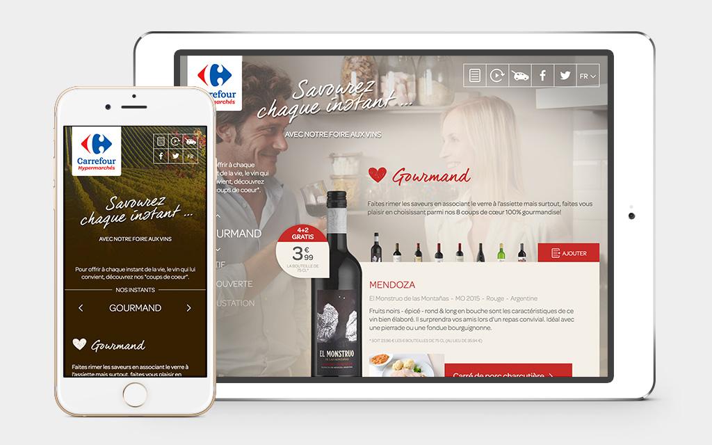 Regardez le site de vin sur smartphone et tablette