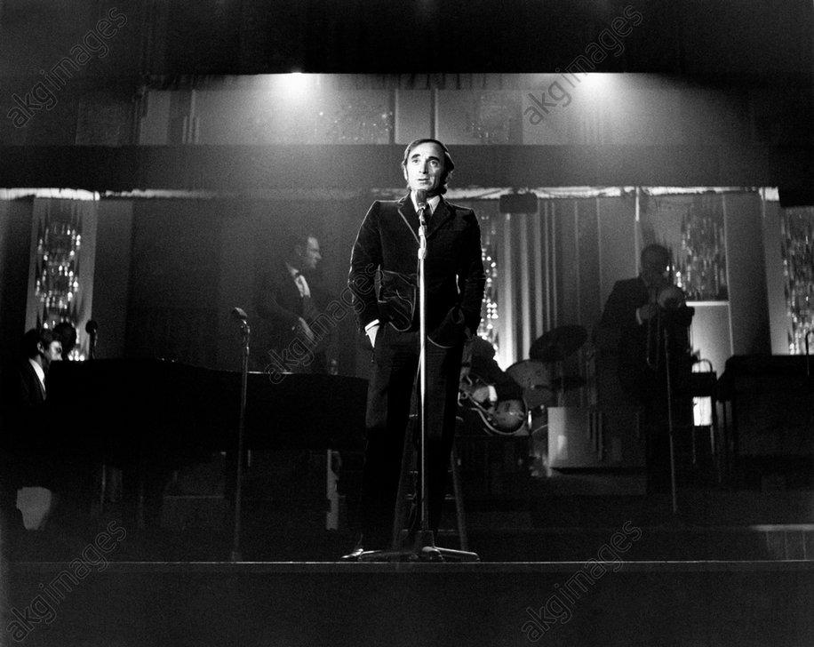 Charles Aznavour is singing at the night club Bussola. Viareggio, September, 1968.<br/>AKG1734627