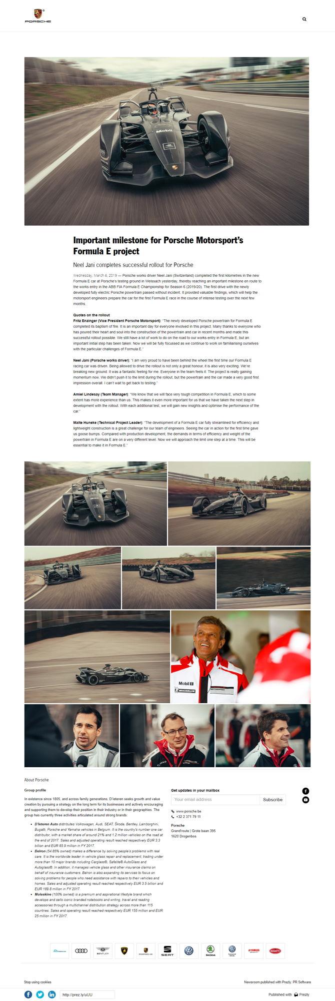 Important milestone for Porsche Motorsport's Formula E project