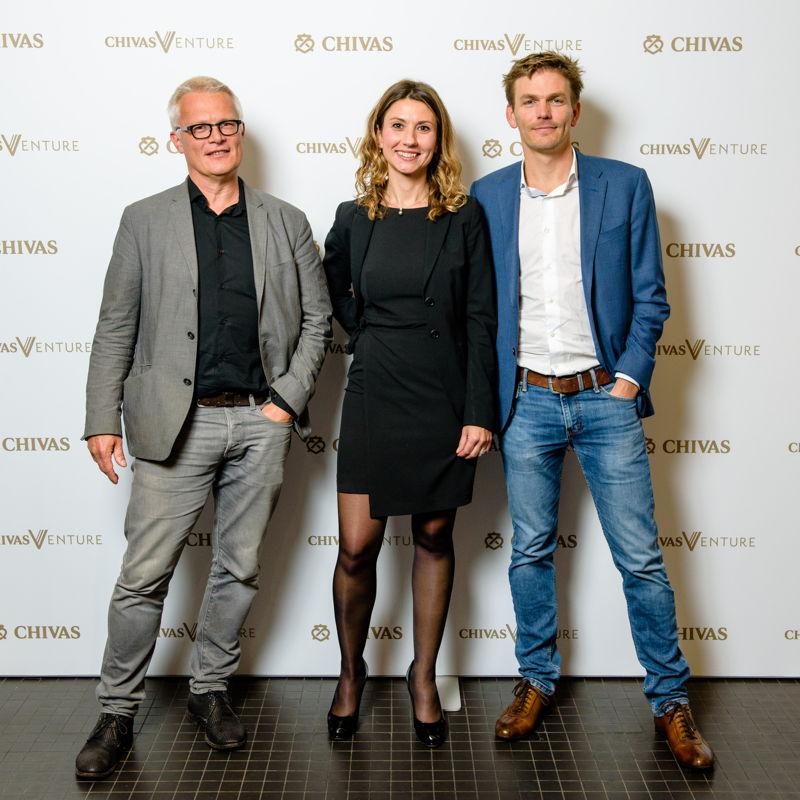 Jury - Chivas Venture 2018. Vlnr:  Piet Colruyt, Laurence Hulin (vertegenwoordigster van Jean-Michel Ludwig) en Michaël Van Cutsem
