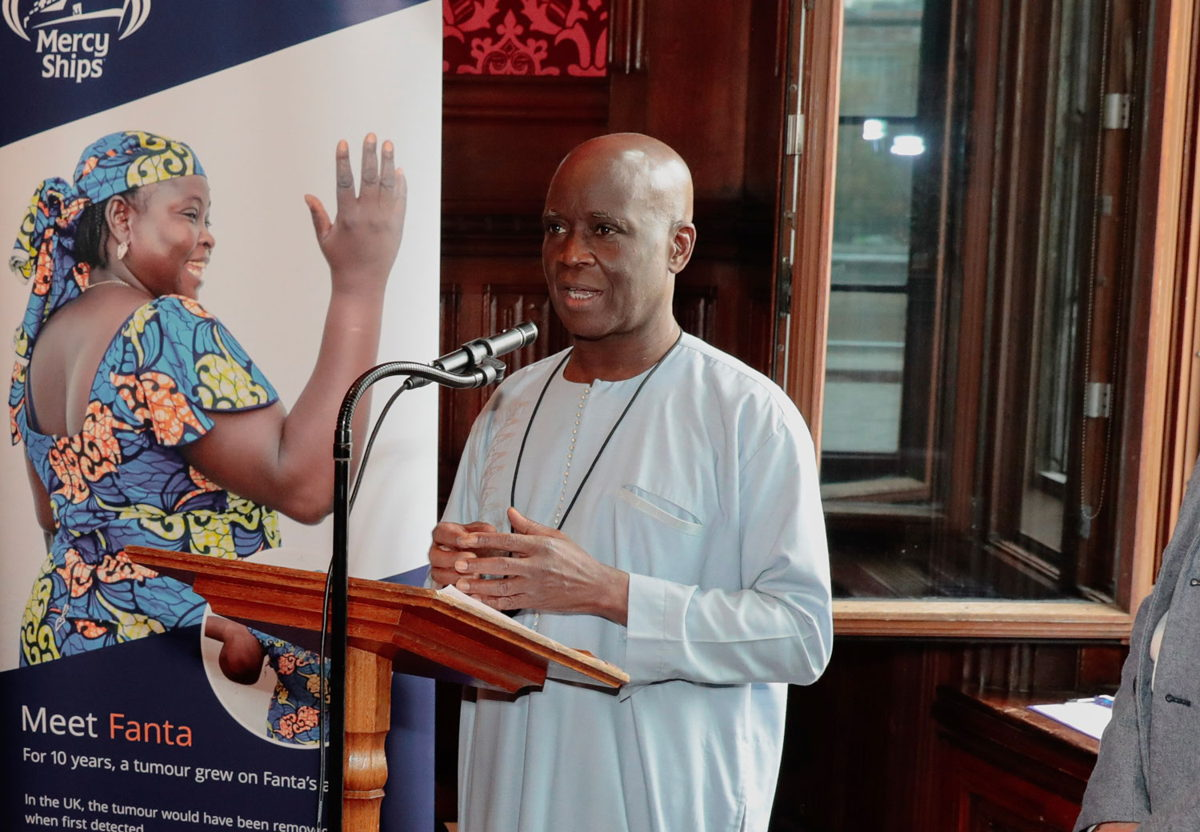 His Excellency Cheikh Ahmadou Dieng, the Ambassador for Senegal speaking at the Mercy Ships event at the House of Commons.