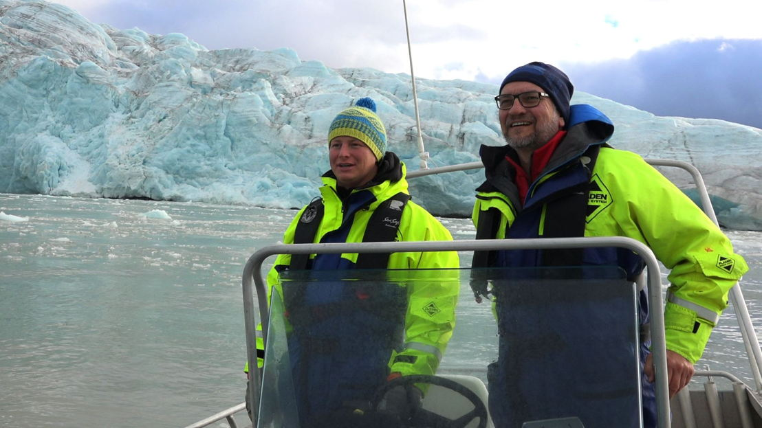 Scientist Tom Foreman with Eric Campbell, glacier country