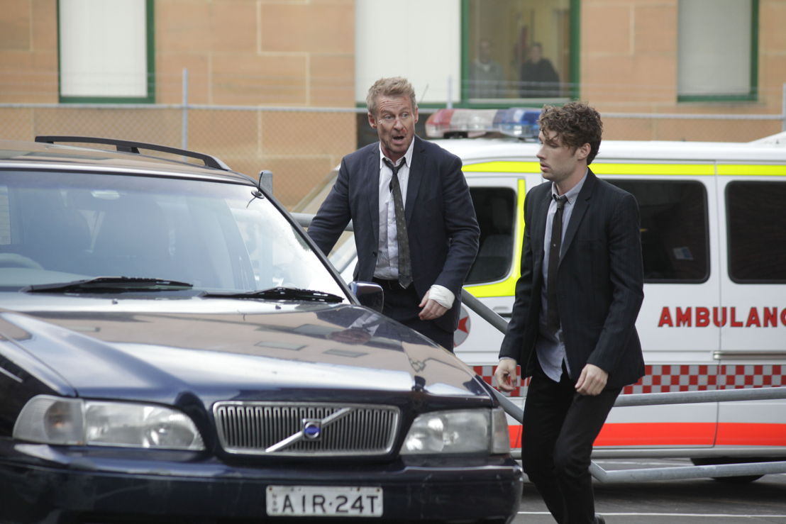 Richard Roxburgh as Cleaver Greene and Keegan Joyce as 'Fuzz'