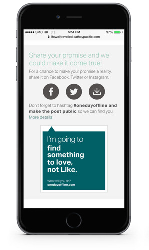 Cathay Pacific launches #onedayoffline to encourage richer travel experiences