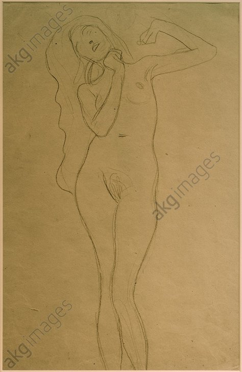 &quot;Standing woman with raised arms&quot;, 1903/07. (Study for the &quot;Veritas&quot; in the faculty image &quot;Jurisprudence&quot;).<br/><br/>Black chalk, 45.3 × 31.8 cm.<br/><br/>AKG2126276