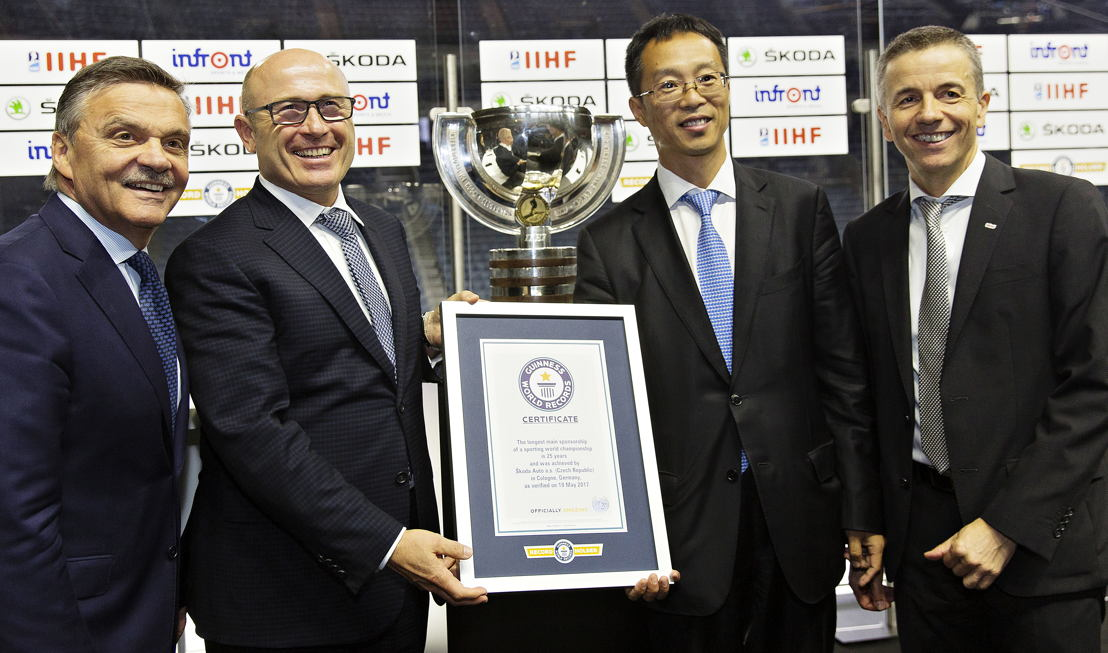 The contract to extend the partnership was signed by IIHF President Dr. René Fasel, ŠKODA CEO Bernhard Maier, Chairman Wanda Sports Holding Lincoln Zhang and President and CEO of Infront Sports & Media Philippe Blattner on Friday at the Lanxess Arena in Cologne. The 25-year commitment has been recognized as a GUINNESS WORLD RECORD for 'the longest main sponsorship in the history of sports world championships'.