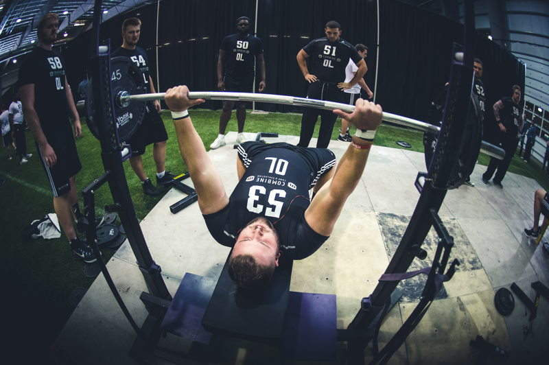 Jean-Simon Roy competing in the Bench Press at the CFL Combine presented by adidas. Photo credit: Johany Jutras/CFL