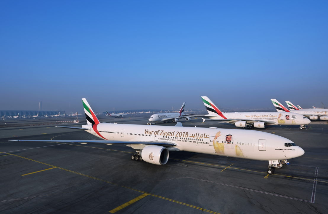 """Both Emirates B777-300ER and A380 aircraft will be emblazoned with the """"Year of Zayed"""" decal as a tribute to the late founding father of the UAE."""