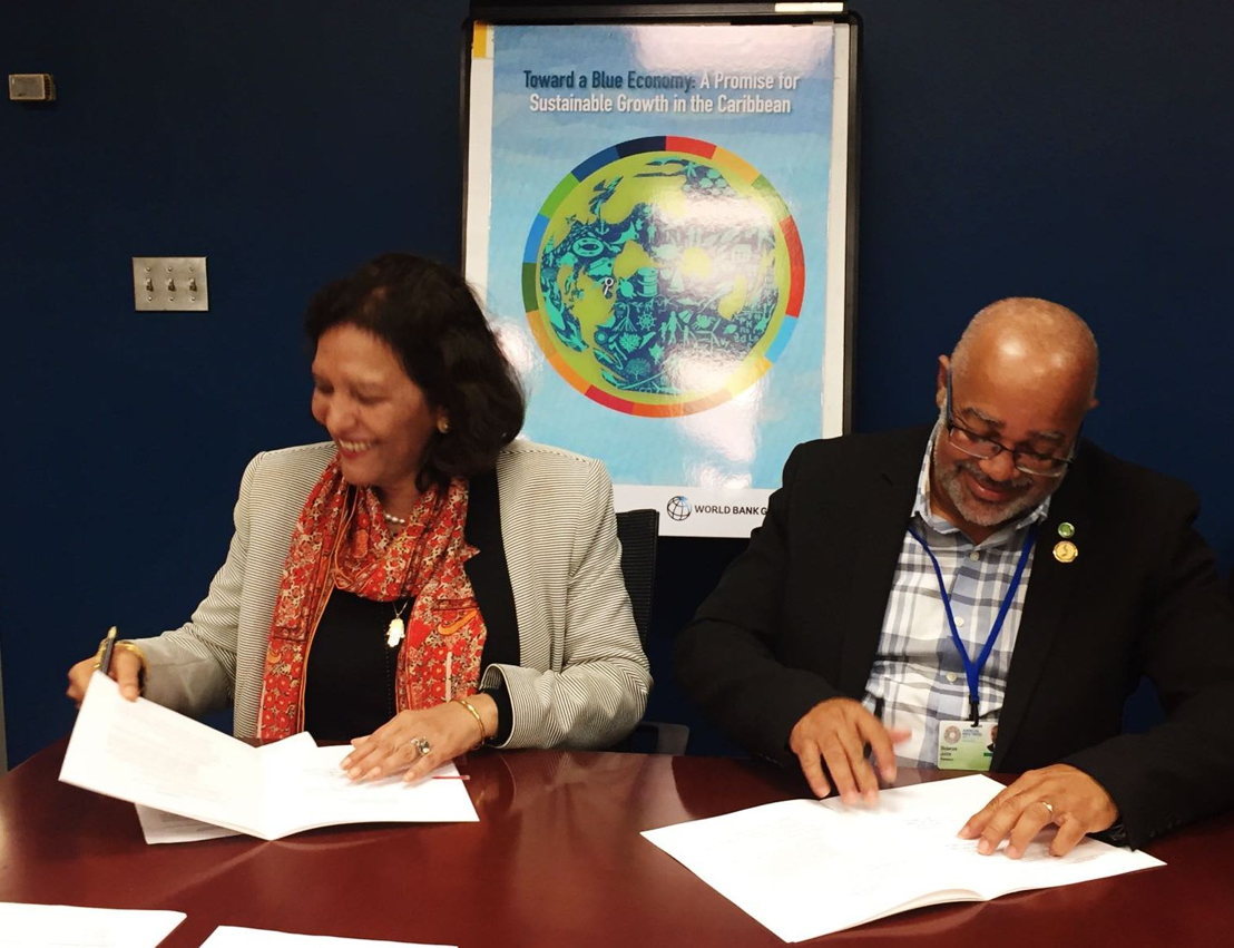 Director General of the OECS Commission, Didacus Jules; and World Bank Country Director for the Caribbean, Tahseen Sayed Khan, sign CROP Grant Agreement in Washington DC on October 14, 2017.