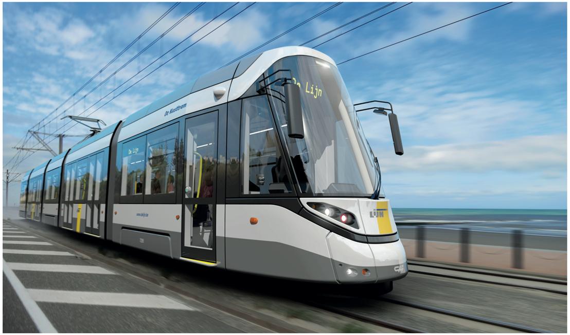 Ontwerp CAF-tram voor de Kusttramlijn.