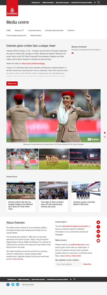 Emirates gives cricket fans a unique cheer