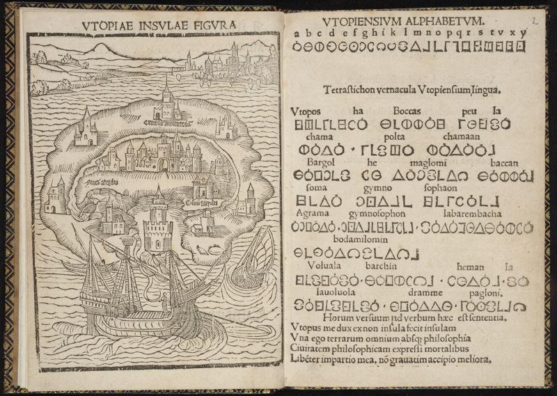 À la recherche d'Utopia © Thomas More, Libellus de … insula Utopia, Leuven - Dirk Martens , 1516, Bibliothèque royale de Belgique.