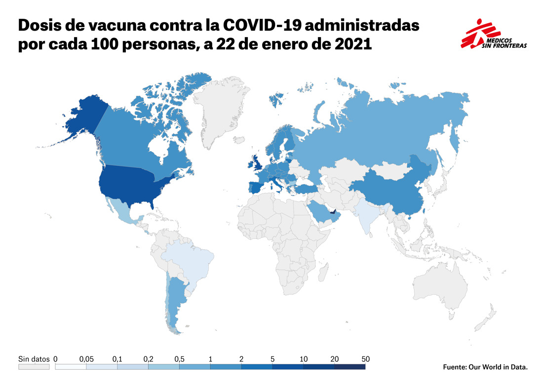 MSF lamenta que solo el 2% de las vacunas COVID-19 de Pfizer para 2021 y 2022 se destine al COVAX