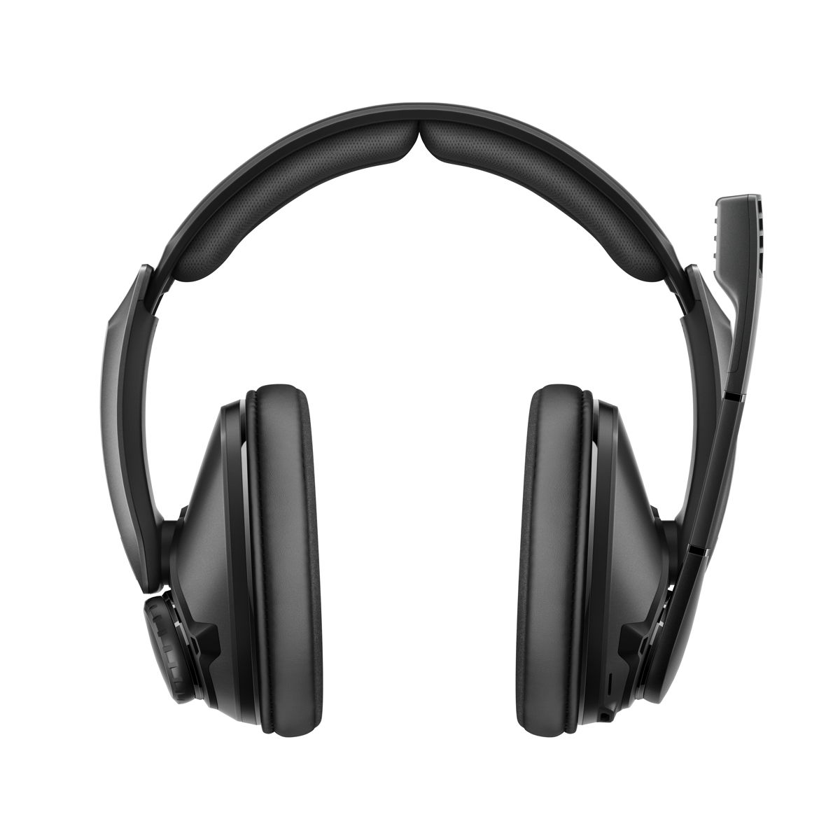 The headband is split and reduces pressure on the skull. Memory ear cushions isolate ambient noise and provide a comfortable fit.