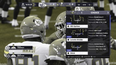 The Tampa Bay play calling screen in Madden NFL 21 with color blindness settings set to deuteranopia, simulated as seen by someone with red-green color blindness. The technology helps to distinguish between the different types of routes to make it easier for the player to choose the right play, enhancing the gaming experience.