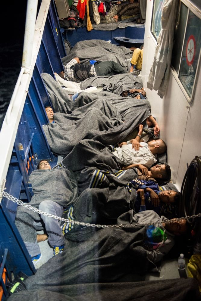 System identifier<br/>: MSF150158<br/>Title<br/>: July 13 Rescue - Phoenix<br/>Photographer / cameraman<br/>: Gabriele François Casini<br/>Countries:<br/>Italy<br/>Description<br/>: With 414 people on board, space becomes extremely limited and every available inch is<br/>used to allow people to rest and sleep. Despite appearing very crowded, many people say they slept<br/>comfortably for the first time in months