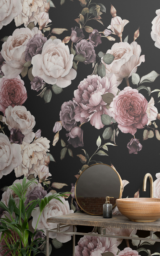 Preview: Moody murals prove bathrooms can benefit from a bit of dark design