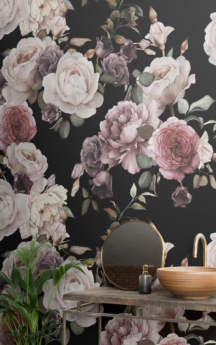 Moody murals prove bathrooms can benefit from a bit of dark design