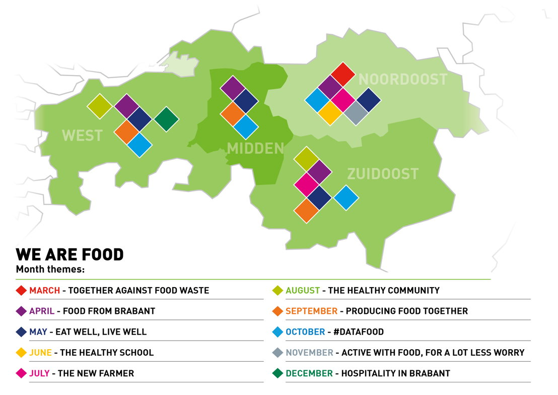Overview map We Are Food Innovation programme Noord-Brabant European Region of Gastronomy 2018. Source Agri Food Capital