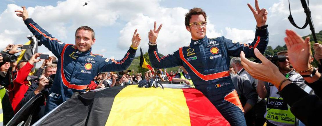 De Belg Thierry Neuville wint de rally van Duitsland in zijn Hyundai i20 WRC.