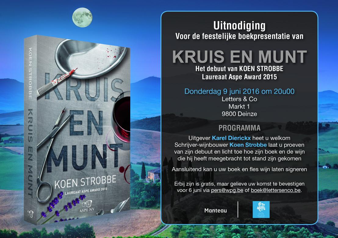 Uitnodiging 9 juni: Koen Strobbe lanceert zijn adembenemende debuut 'Kruis en munt'