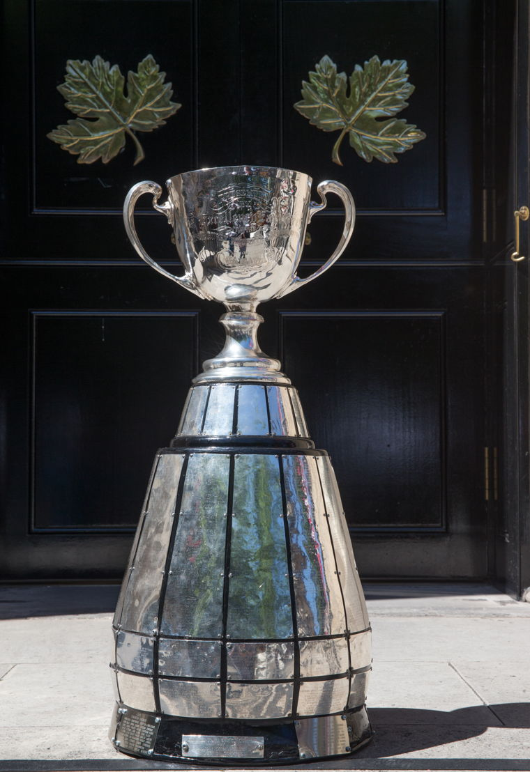 Grey Cup in front of the Canada House. Photo: Jim Ross/CFL