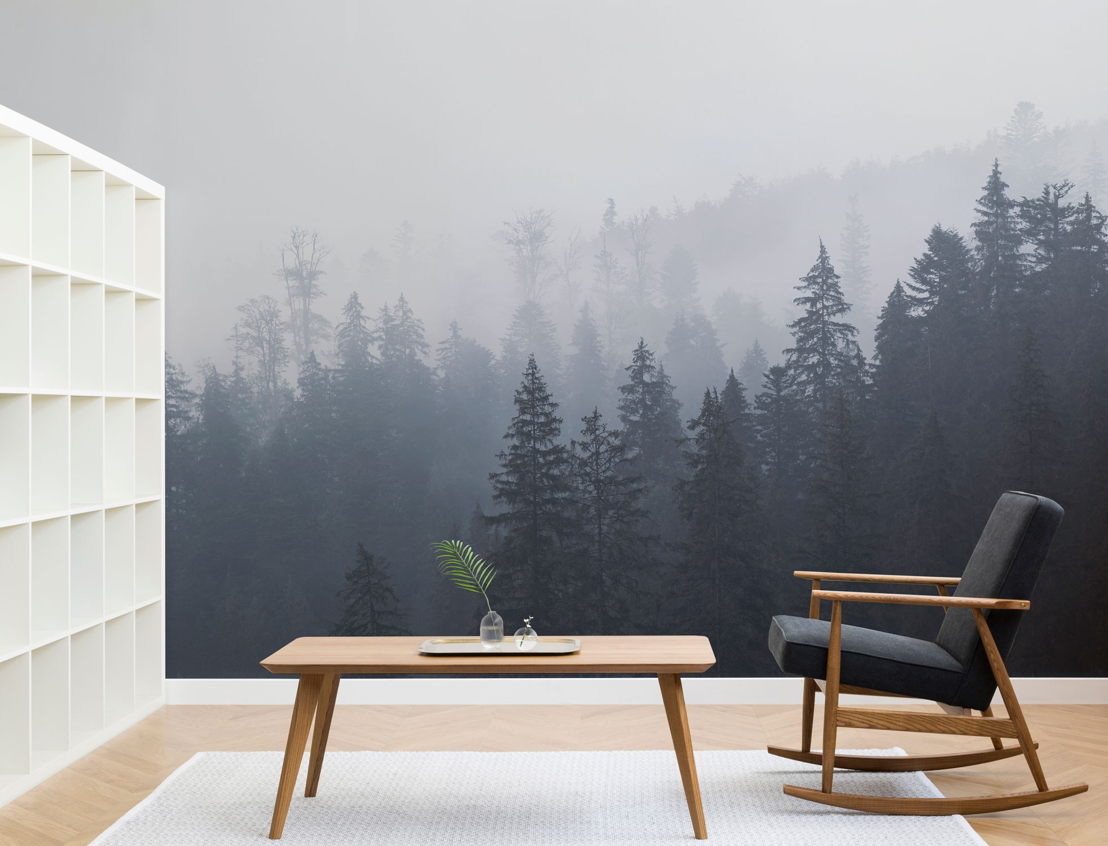 Misty Blue Ombre Forest Wall Mural
