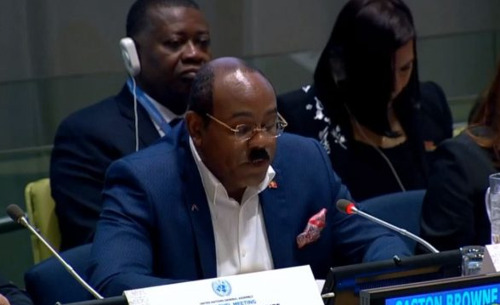 Hon. Gaston Browne, Prime Minister of Antigua and Barbuda, delivers CARICOM Joint Statement at the UNGA High-level Meeting on Middle-income Countries and the 2030 Agenda