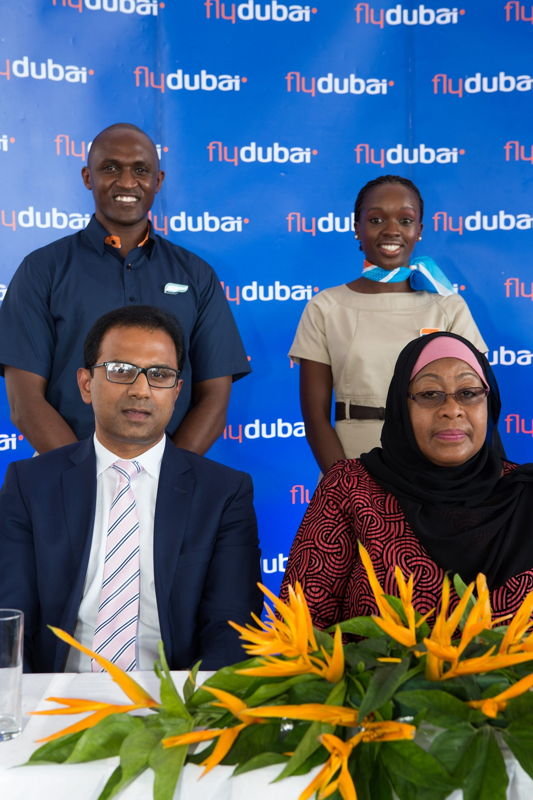 HE Samia Hassan Suluhu, Minister of State and flydubai's SVP Commercial Sudhir Sreedharan