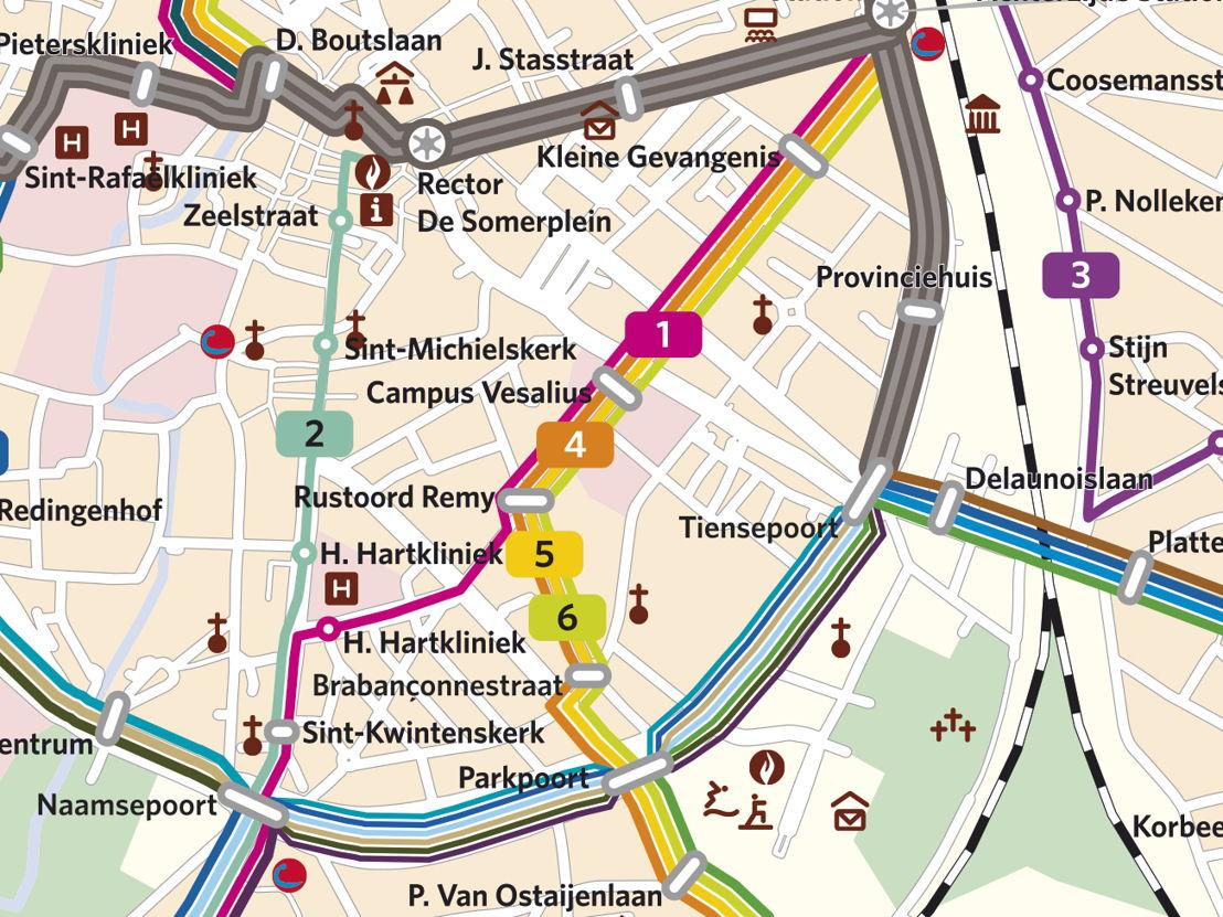 De nieuwe reiswegen van lijnen 1, 7, 8 en 9 in Leuven.