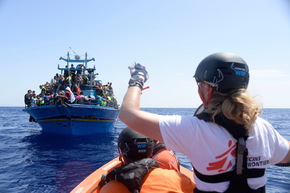 Photographer: Fransesco Zizola <br/><br/>System Identifier: MSF151368<br/><br/>Caption: 26th August 2015. A boat containing approximately 650 people is rescued in the Mediterranean Sea by the Bourbon Argos and taken to Sicily, Italy.