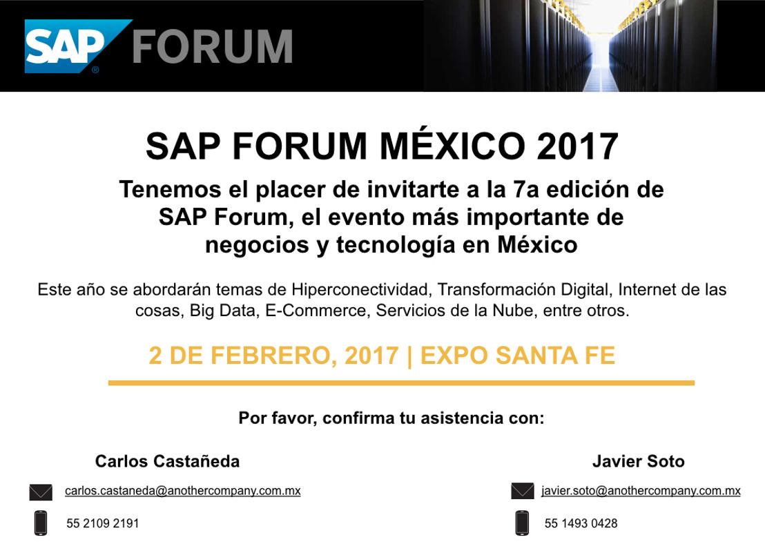 INVITACIÓN SAP FORUM MÉXICO 2017