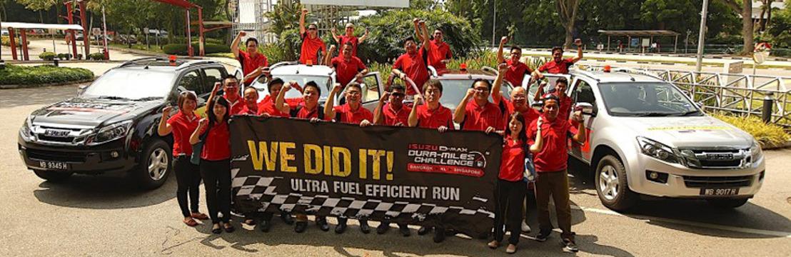 Isuzu D-Max établit un nouveau record de sobriété en se rendant de Bangkok à Singapour sur un seul plein.