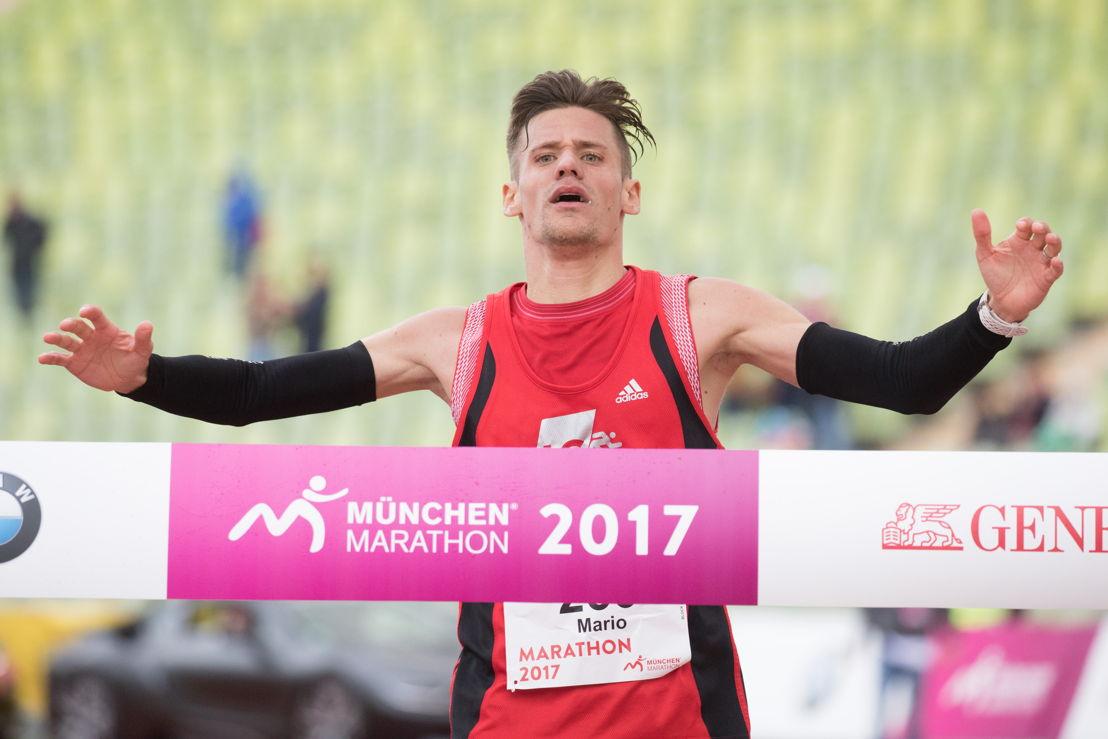 Erschöpft und überglücklich lief Mario Weindörfer mit 02:27:50 als Erster in die Olympiahalle ein.